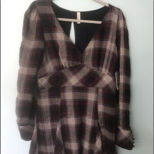 Free People Burg Black Plaid Tunic Size 12 NWT